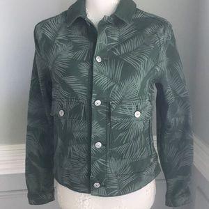 LuLaRoe Kenny Sage Green Palm Jacket Pockets SZ S